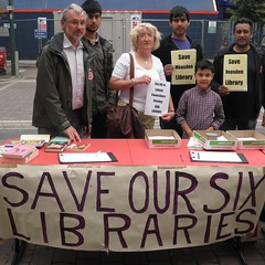 Campaigners gathering petition signatures at a stall outside Neasden library
