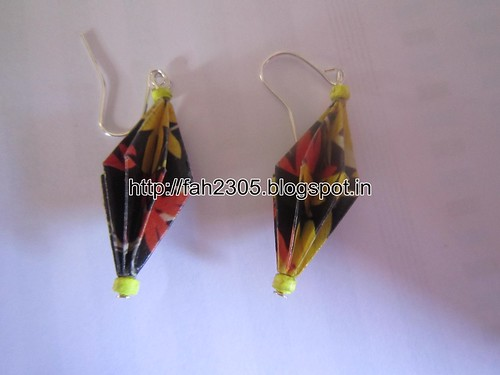 Handmade Jewelry - Origami Paper Diamond Earrings (2) by fah2305