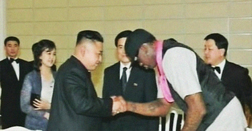 Retired NBA basketball player Dennis Rodman greets Democratic People's Republic of Korea leader Kim Jong-un in Pyongyang in early January 2014. by Pan-African News Wire File Photos