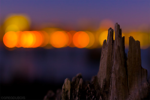 Boston Bokeh Balls over Decayed Pilings and Inner Harbor, Carlton's Wharf East Boston by Greg DuBois Photography