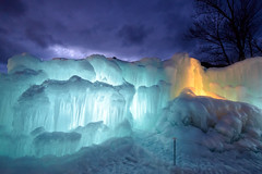 Ice Cliffs and Waterfall