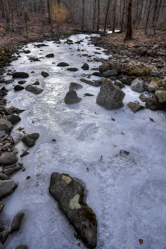Unnamed creek, frozen, Putnam County, Tennessee