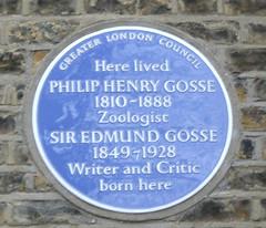 Photo of Philip Henry Gosse and Edmund Gosse blue plaque