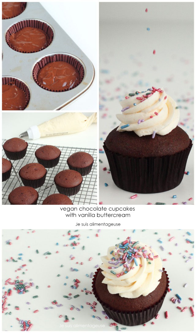Fluffy, dark, vegan chocolate cupcakes with vanilla buttercream | Je suis alimentageuse | #vegan #chocolate #cupcakes