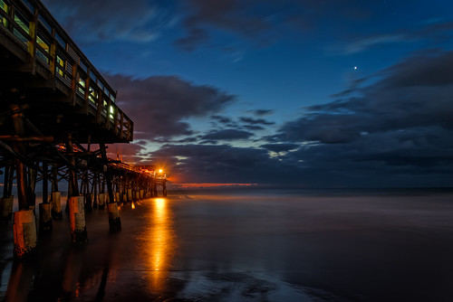 ocean sky usa cloud reflection water sign sunrise stars landscape dawn lights pier dock venus unitedstates florida astronomy cocoa cocoabeach centralflorida