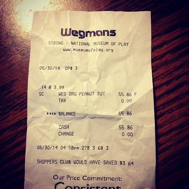 Maddy's receipt from the museum of play wegmans: $55 worth of peanut butter!