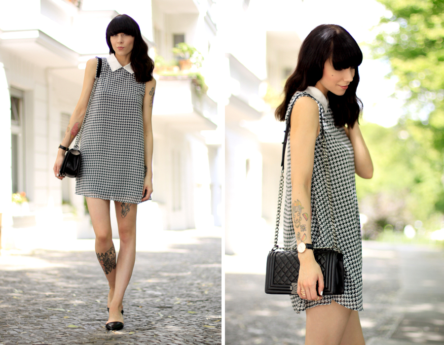AX Paris dogtooth hahnentritt Muster pattern babydoll dress summer Berlin CATS & DOGS fashion blog Ricarda Schernus 2