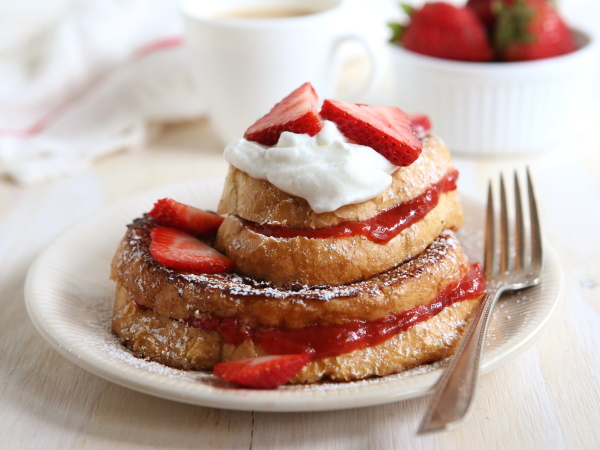 Strawberry Rhubarb Stuffed French Toast from completelydelicious.com