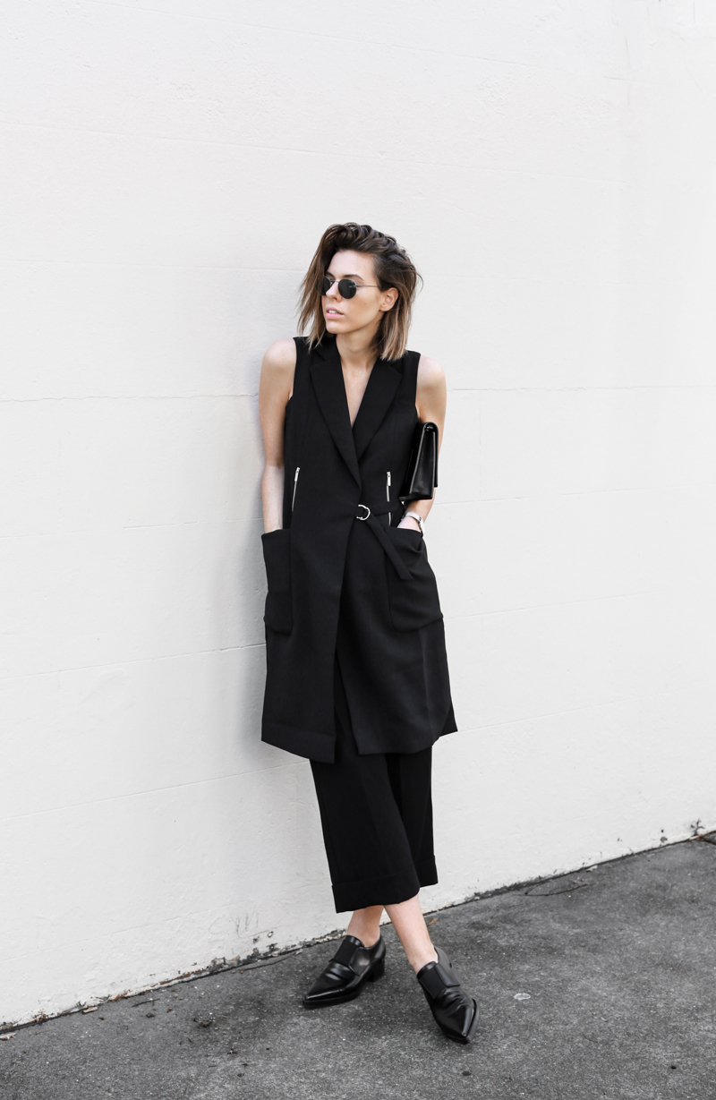 modern legacy, fashion blog, all black street style, work wear inspo, culottes, cuffed pants, Stella McCartney loafers, Karen Millen (1 of 1)