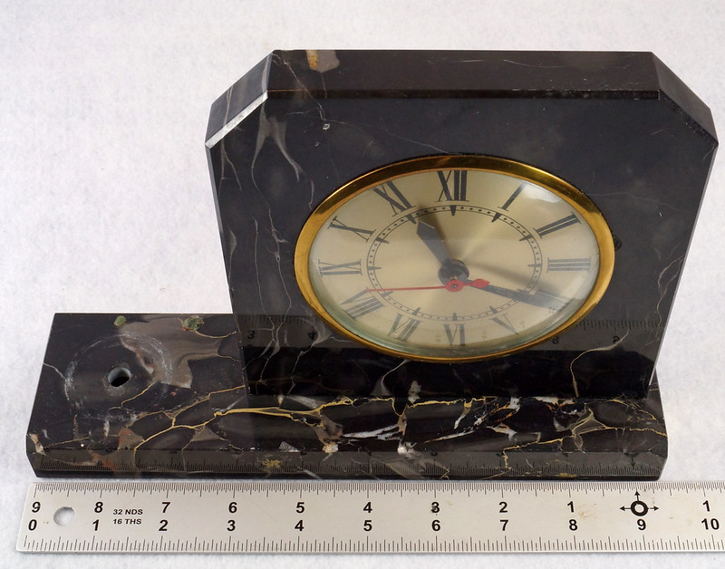 RD15359 Vintage Brunswick Electric Sessions Brass and Imported Marble Trophy Clock DSC09231