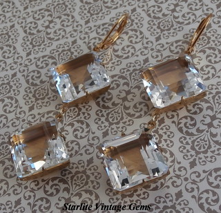 ROCK CRYSTAL EARRINGS ~ ART DECO ROCK CRYSTAL Jewelry ~ Rare Vintage Step Cut Square Drop Earrings ~ Authentic Pools of Light ~ Natural Rock Crystal Quartz Gemstone Earrings ~ Rock Crystal Quartz ~ Art Deco Rock Crystal Earrings