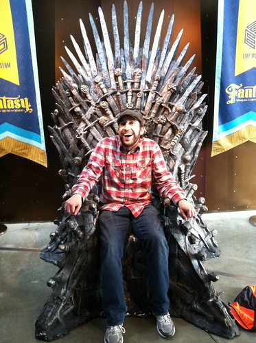 Chris sits on the Iron Throne (Uncomfortably)