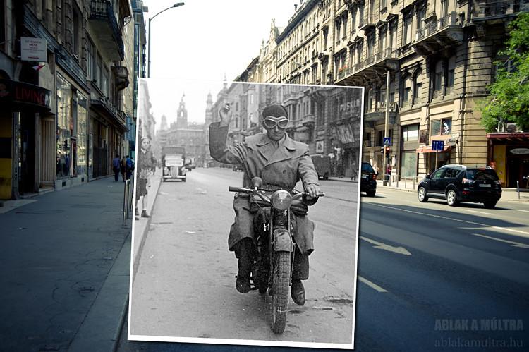 Budapest, V. Kossuth Lajos utca, a Magyar utcától a Ferenciek tere (Felszabadulás tér) felé nézve fortepan_16795