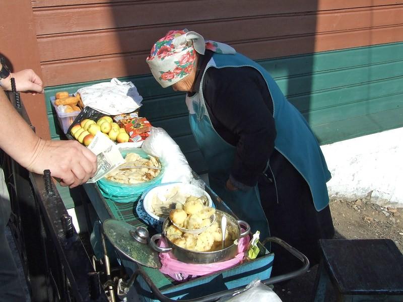 Babushka selling vareniki