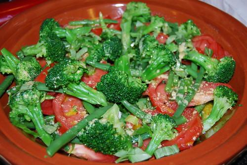 salade boontjes brocolli, tomaat