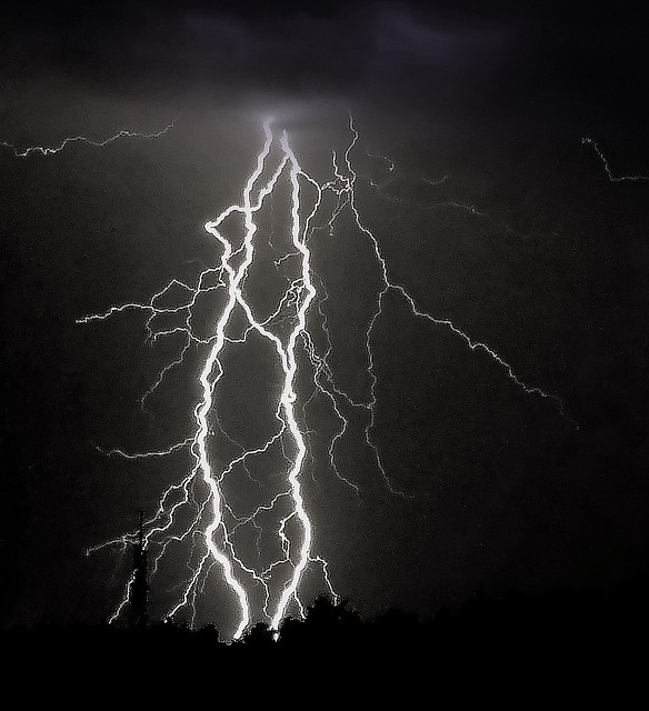 White and black photography lightning rare photo