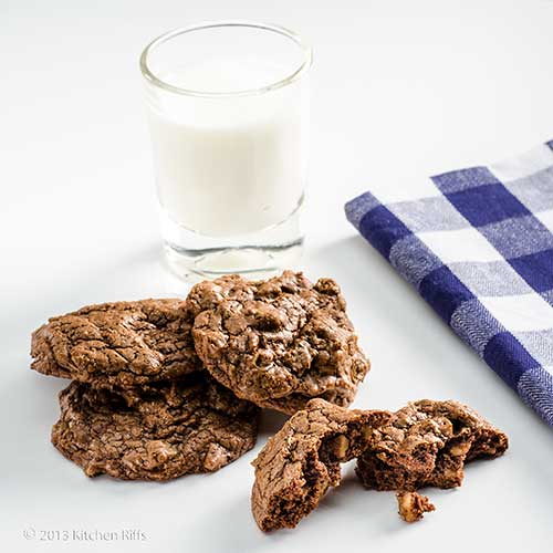 Deep Dark Chocolate Cookies with glass of milk