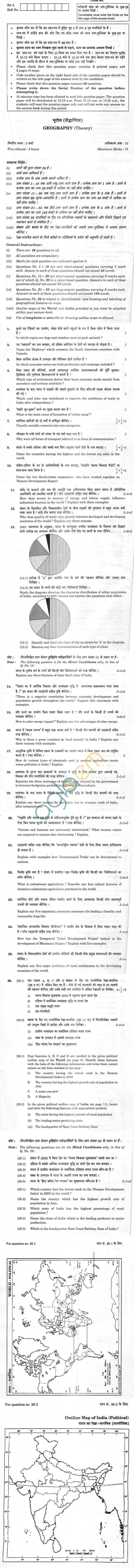 CBSE Compartment Exam 2013 Class XII Question Paper - Geography