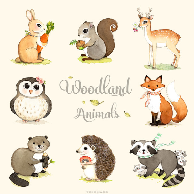 Woodland animals print set
