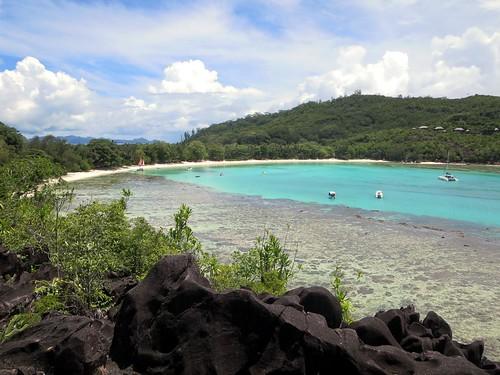 beach day cloudy seychelles mahe portlaunay