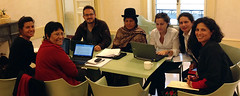 NGOs representatives from Bolivia preparing their statements to the Committee