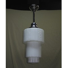 *vintage deco milk glass ceiling fixture | Vintagelights.com