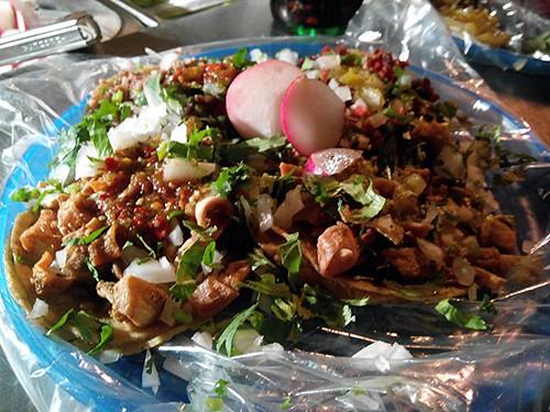 Tripas, Cabeza, and Chorizo Tacos