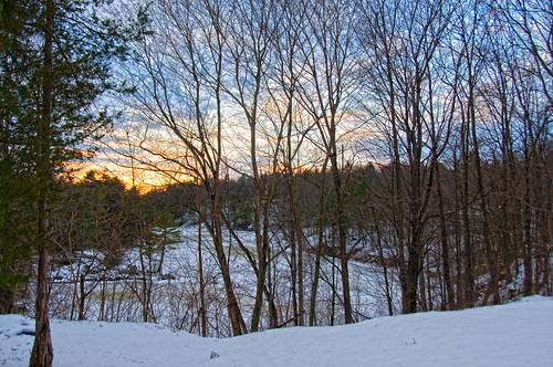 winter sunset snow ontario clouds creek 1000islands stlawrenceriver laruemills