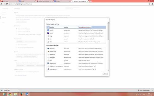 Chrome default search settings