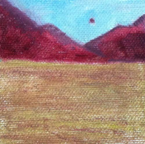 Red Mountains, Brown Field (Mini-Painting as of Dec. 13, 2013) by randubnick