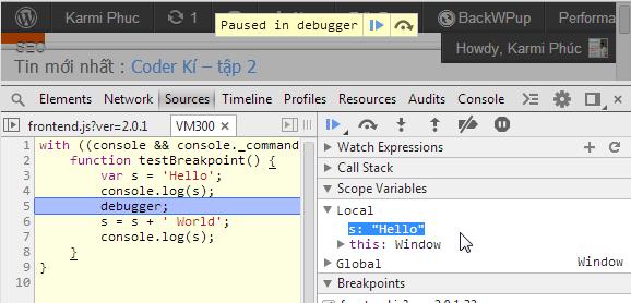 Tự động thêm breakpoint bằng code