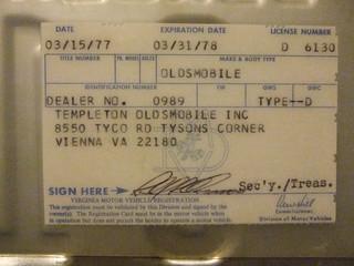 VIRGINIA 1978 ---DEALER PLATE #D 6-130 REGISTRATION