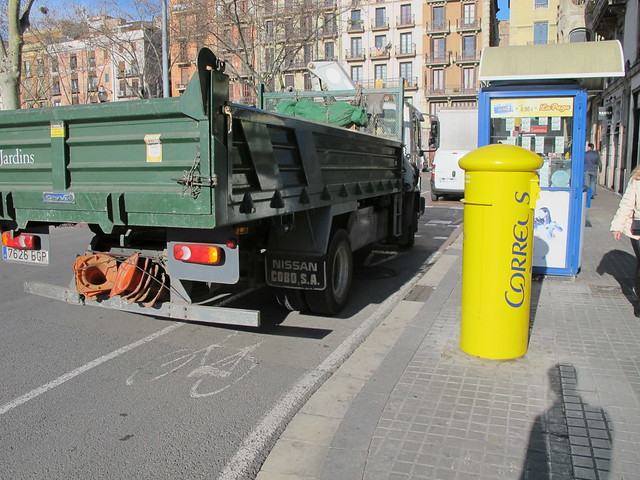 Truck in bicycle path Barcelona