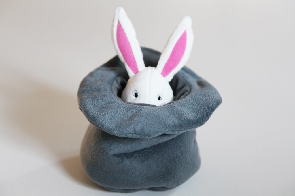 ikea stuffed animal bunny hat music toy baby children rewind windup grey white