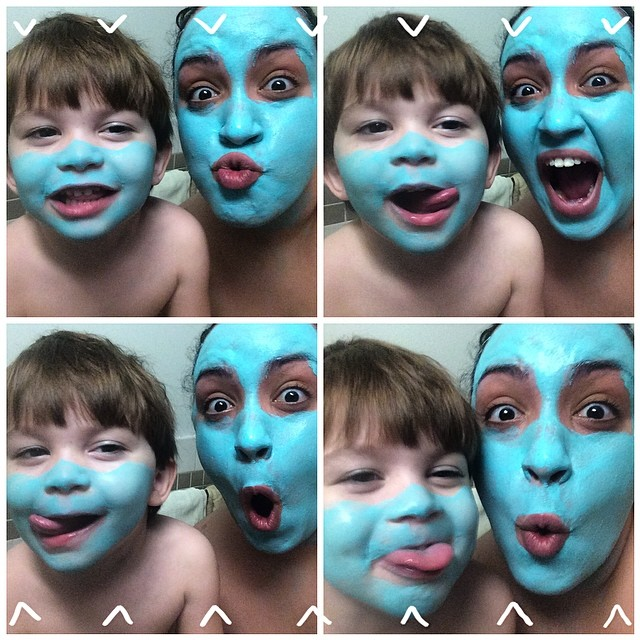 fun time with my nene! #spaday #facemask #blue