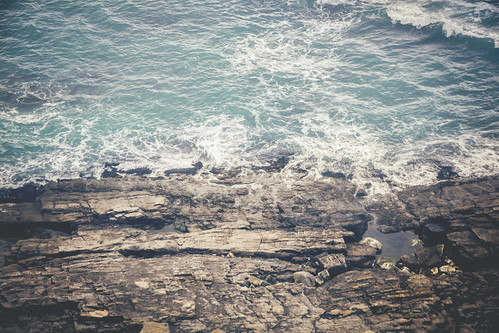 Waves Against Rocks - (St Michaels Mount Shoreline)
