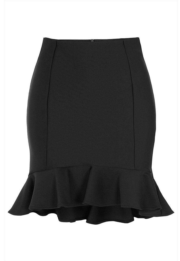 TOPSHOP Black Ruffle Hem Skirt