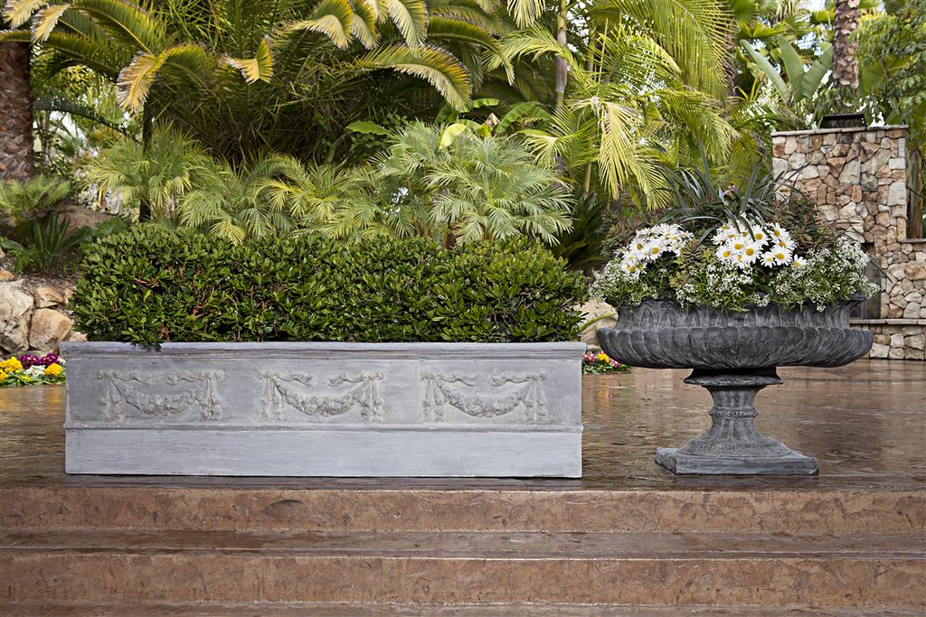 Ribbed Oval Urn & Rectangular Iberian Garland Planter