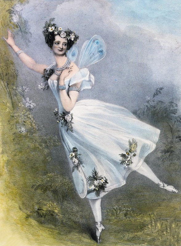 Marie Taglioni (1804–84) as Flore in Charles Didelot's ballet Zephire et Flore. Hand coloured lithograph, c1831