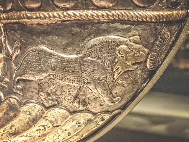 Closeup of an embossed lion on a Sasanian Wine Horn 4th century CE Silver and Gilt