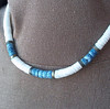 intage Puka Shell Necklace - White and Blue-Gray Shells