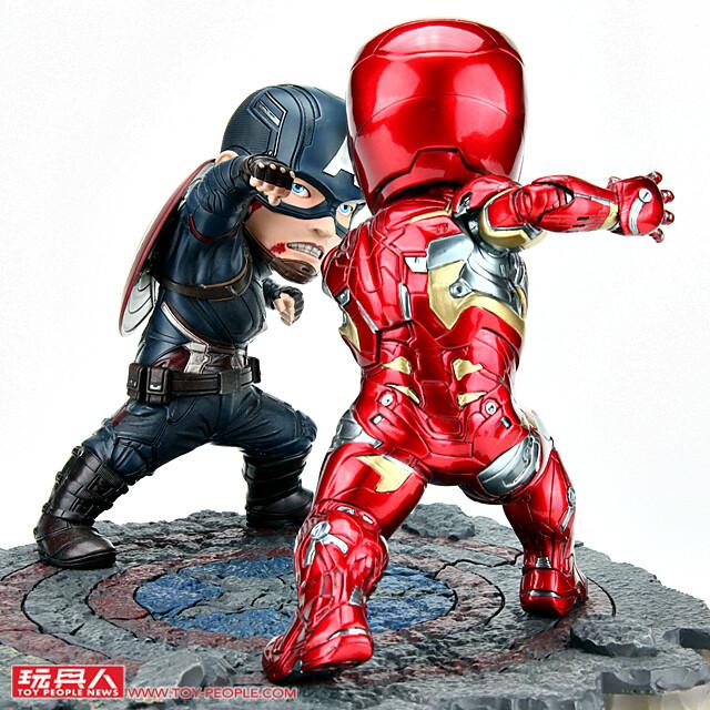 魄力的對決Q版立體化!Egg Attack EA-025《美國隊長3:英雄內戰》美國隊長 VS 鋼鐵人馬克46 對戰組雕像