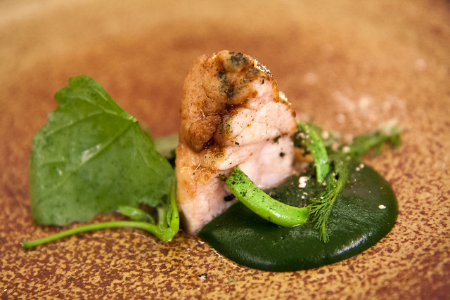 Sweetbreads with nettles and fiddlehead ferns, Aska