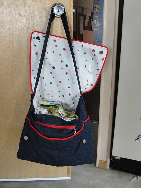 Denim Dearest Diaper Bag - open and full!