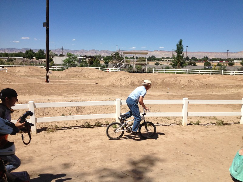 Grandpa O on a BMX Bike