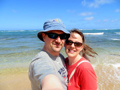 At the beach of our hotel in Kapa'a
