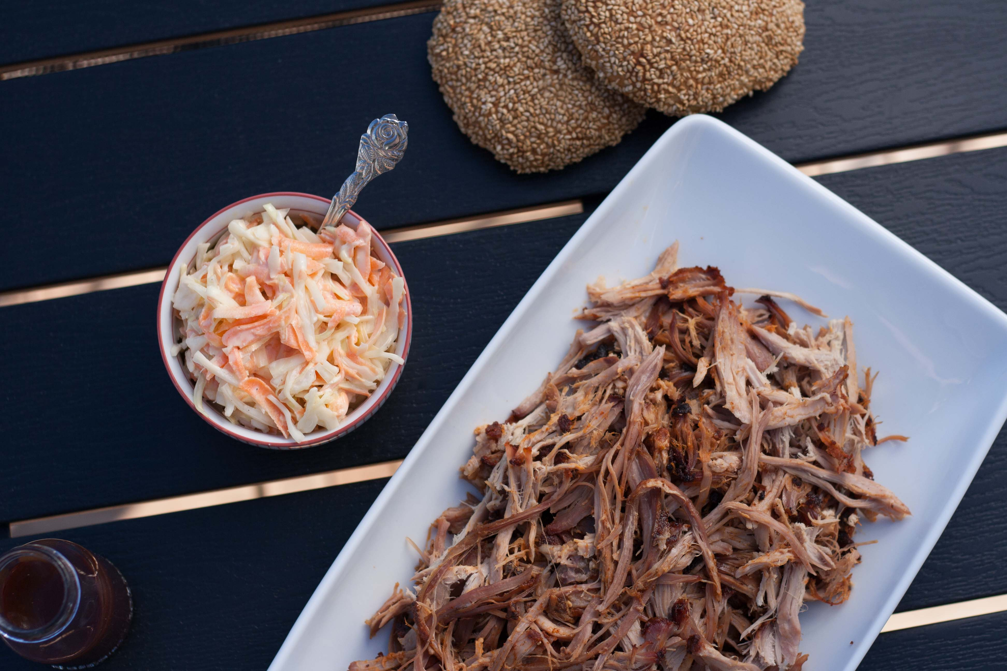 Homemade Pulled Pork with Burger Buns and Coleslaw