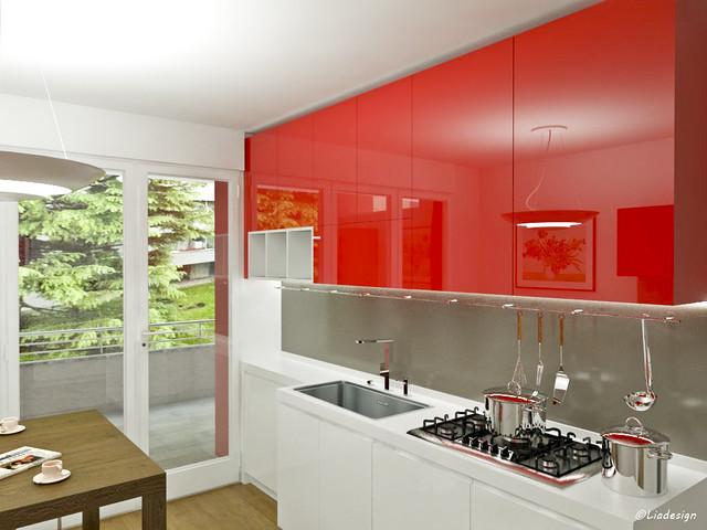 Cucine rosse esempio di cucina moderna con pareti rosse - Cucina laccata rossa ...
