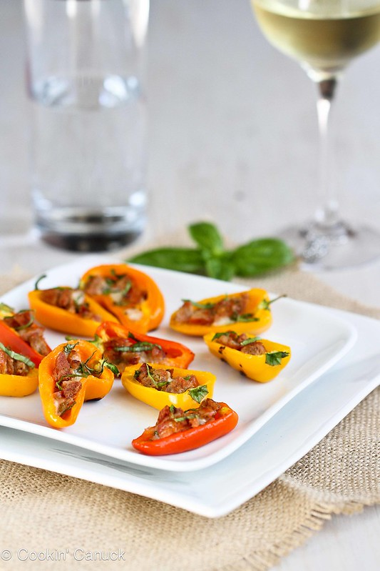 Mini Grilled Stuffed Peppers Recipe with Sausage & Basil | cookincanuck.com #recipe #grilled #appetizer