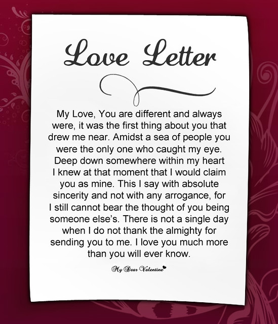 Sweet love letter for girlfriend